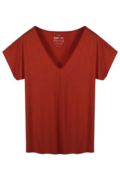 BASIC&CO V Yaka Kırmızı Basic Viskon T-Shirt
