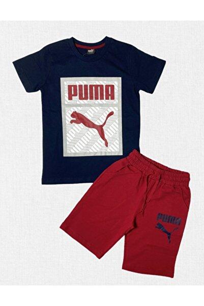Puma Erkek Çocuk Lacivert Bordo Şortlu Penye Takım