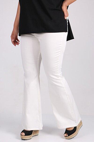 Eslina 9137-1 Büyük Beden Beli Lastikli Ispanyol Paça Kot Pantalon-beyaz