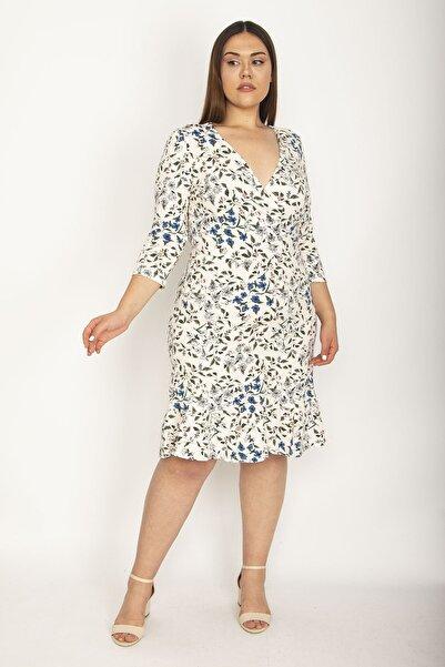 Şans Kadın Bej Pamuklu Kumaş Puan Desenli Anvelop Yakalı Etek Ucu Volanlı Elbise 65N26881