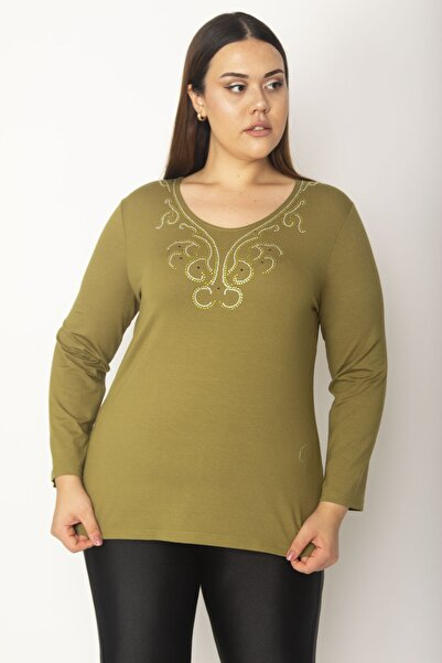 Şans Kadın Haki Yakası Taş Detaylı Uzun Kollu Viskon Bluz 65N27040