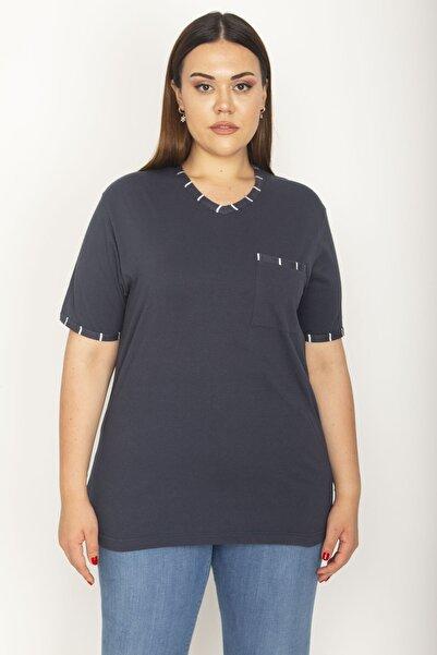 Şans Kadın Lacivert Pamuklu Kumaş Çizgi Kombinli Kısa Kollu Bluz 65N27014