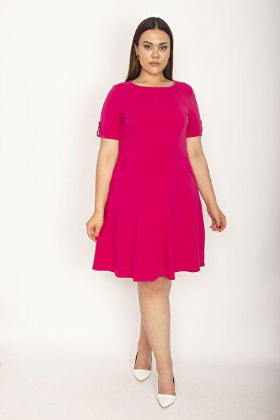 Şans Kadın Fuşya Pamuklu Kumaş Yaka Ve Kol Ağzı Lastik Detaylı Likralı Elbise 65N26946