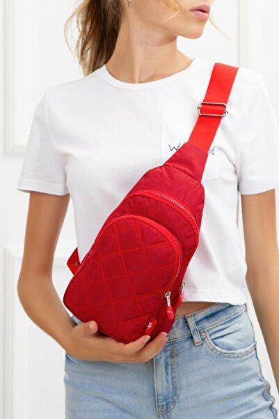 Av A Dos Unisex Kırmızı Krinkıl Kapitone Çapraz Askılı Bel Omuz Çanta Göğüs Seyahet Günlük Bodybag