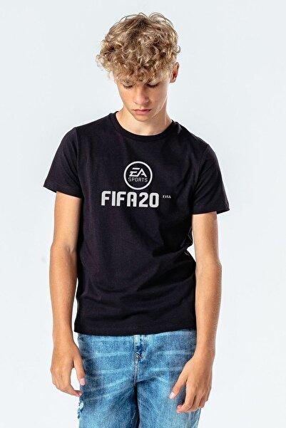 QIVI Fıfa 2020 Baskılı Unisex Çocuk Siyah Tshirt