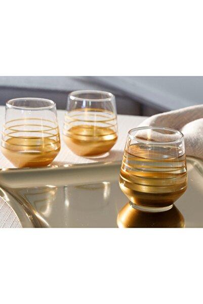 English Home Golden Cam 6'lı Kahve Yanı Su Bardağı 115 Ml Gold