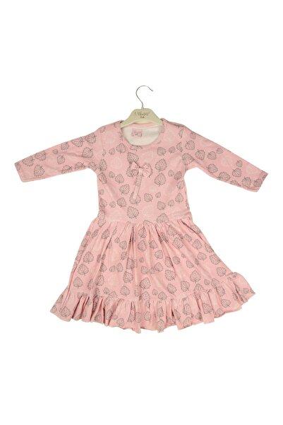 Hidden Kids Kız Çocuk Pembe Yaprak Desenli Elbise