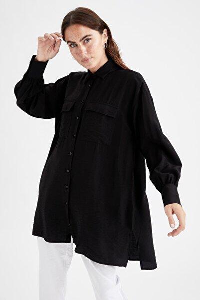 DeFacto Cep Detaylı Balon Kollu Yırtmaçlı Gömlek Tunik
