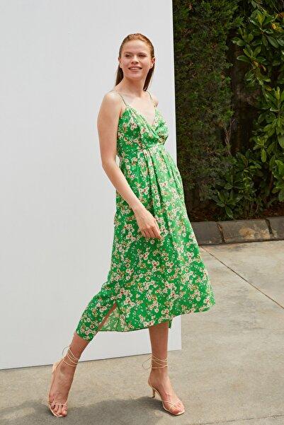 adL Askılı Desenli Elbise
