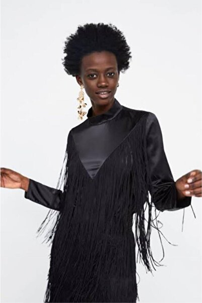 nrrbutik Siyah Özel Seri Püsküllü Şık Gömlek Bluz
