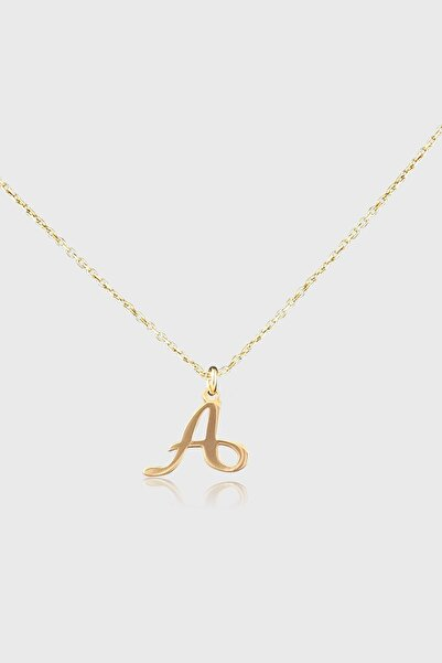 Jewelmim Gold A Harfli Gümüş Kolye