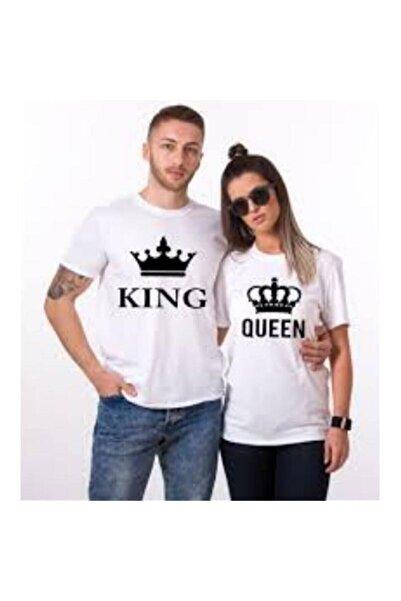 gold fotoğrafçılık Sevgili Tişörtleri Çift Kombin King Queen Tasarım Beyaz Tshirt 2 Adet
