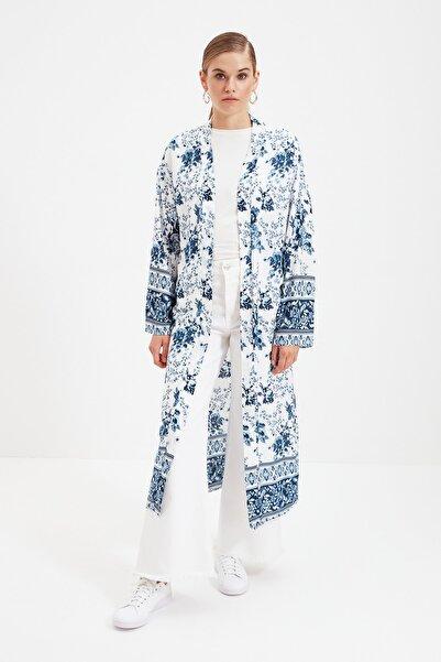 Trendyol Modest Mavi Baskılı Rahat Tesettür Kimono & Kaftan TCTSS21KK0003