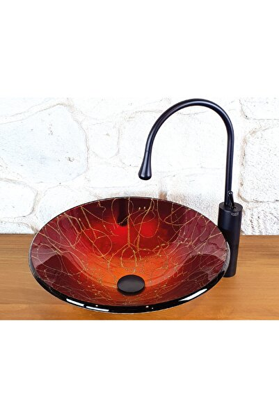 Pure Concept Tezgah Üstü Cam Kırmızı Çanak Lavabo 45cm , Oval Tasarım, Dekoratif