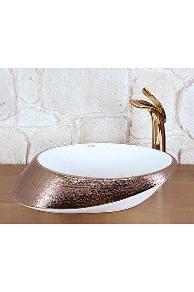 Pure Concept Tezgah Üstü Beyaz Ve Rose Gold Bakır Desenli Çanak Lavabo 52cm,oval Tasarım, Dekoratif