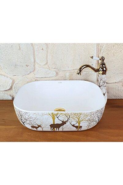 Pure Concept Tezgah Üstü Beyaz Renk, Geyik Desenli Çanak Lavabo 48 Cm, Kare Tasarım, Dekoratif