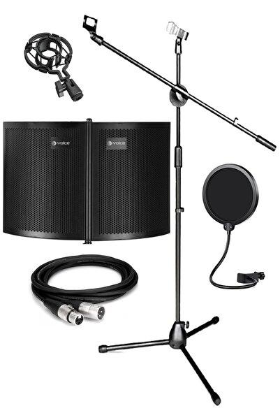 Lastvoice P42x Mikrofon Ses Yalıtım Paneli Stand Pop Filter Shock Mount Xlr Kablo Seti