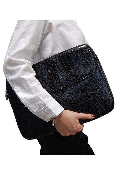 D'VERS Kroko Siyah Unisex 13 - 13.3 - 14 Inç Uyumlu Macbook Kılıf Notebook Laptop Çantası