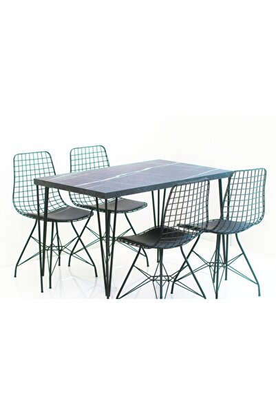 silver home mobilya Mutfak Siyah Tel Masa Sandalye Takımı