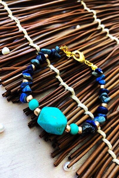 Dr. Stone Dr Stone Doğaltaş el yapımı  afrika koleksiyonu Kadın turkuaz ve lapis lazuli taşı Bileklik YAHL11