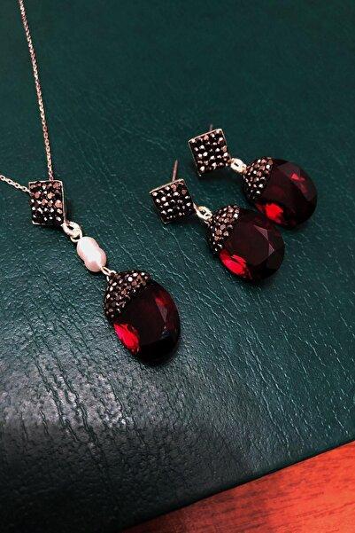 Dr. Stone Dr stone  has yakut rengi   hindistan kristali ve inci  gümüş Kadın Set XDRSOTT3