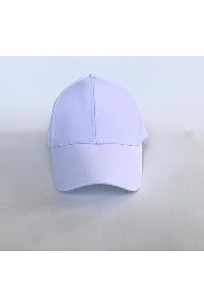 salarticaret Unisex Beyaz Spor Arkası Cırtlı Ayarlanabilir Şapka 55-60 Cm
