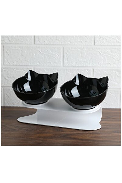 MUCA Kedi Kafalı Ikili Mama Kabı (SİYAH)