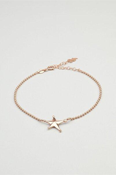 So CHIC... Yıldız Figürlü 18 Ayar Rose Altın Kaplama Gümüş Bileklik