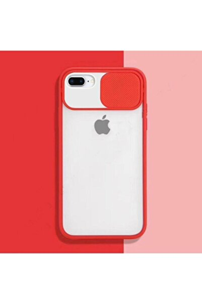 zore Kırmızı Iphone 7 Plus 8 Plus Sürgülü Kamera Korumalı Silikon Kılıf