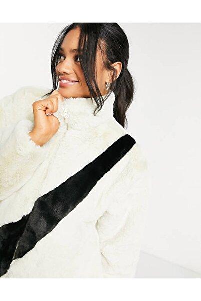 Nike Kürk Kadın Krem Faux-fur Oversized Swoosh Jacket In Cream Cu6558-238