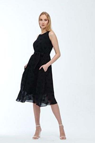 Siyah Kolsuz Kuşaklı Astarlı Pamuklu Kumaş Elbise Je545319