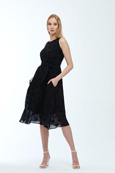 JEANNE DARC Siyah Kolsuz Kuşaklı Astarlı Pamuklu Kumaş Elbise Je545319