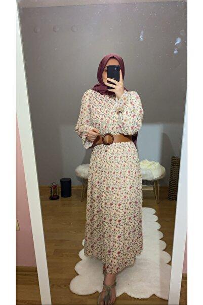 lamelif store Çiçek Desen Şifon Elbise