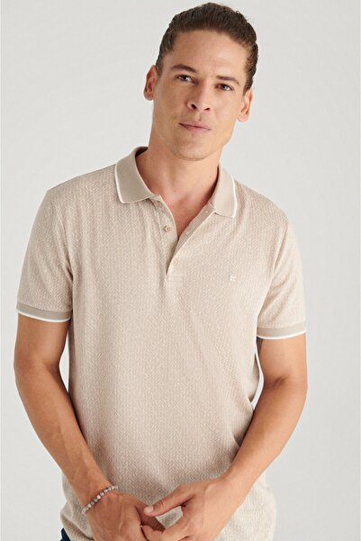 Avva Erkek Bej Polo Yaka Jakarlı Slim Fit T-shirt A11y1201