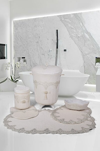 Bonny Home Luxury Krem 6 Prç Dantelli Banyo Kirli Çamaşır Sepeti Seti + Banyo Paspası Seti