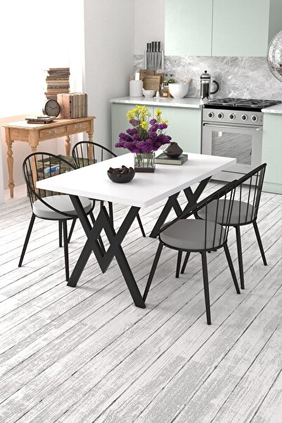 Evdemo Eylül 4 Kişilik Mutfak Masası Takımı Beyaz Gri