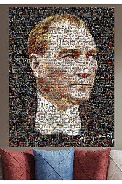 SÖNMEZCE Srka110  Mozaik Atatürk Resmi Minyatür Atatürk Resimleriyle Kolaj Atatürk Kanvas Tablo