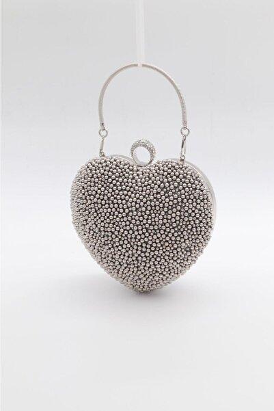 mıchael polo Kadın Gümüş Kalp Abiye Çantası Tm1111a