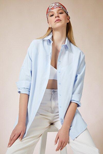 Happiness İst. Kadın Gök Mavi Oversize Uzun Basic Gömlek DD00842