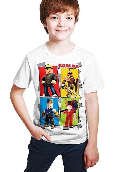 Adviye Design Unisex Çocuk Beyaz Roblox Dörtlüsü Baskılı T-shirt