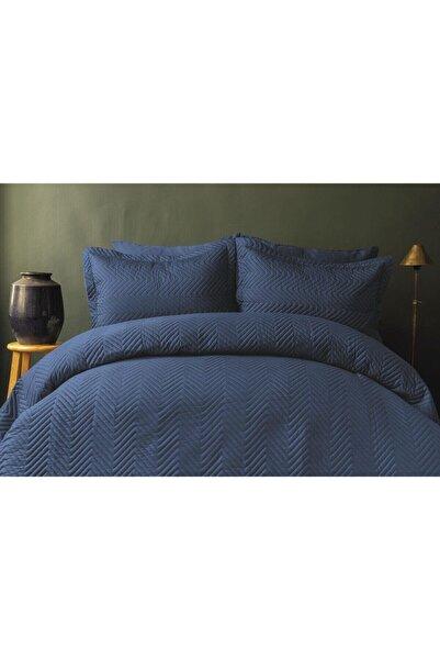 İssimo Home Simply Lacivert Pamuk Saten Çift Kişilik Yatak Örtüsü Seti