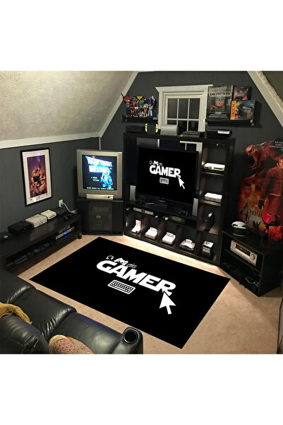 KuzgunHome Genç Odası Halısı Gamer Desen Siyah Dot Taban Halı