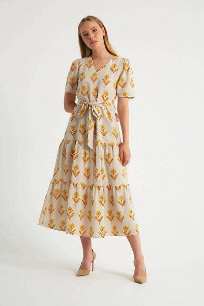 Robin Desenli Kuşak Detaylı Elbise Sarı
