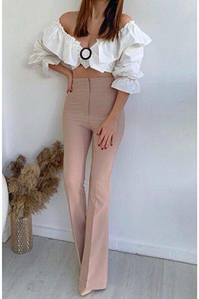 madame chere Kadın Bej Yüksek Bel İspanyol Paça Kumaş Pantolon