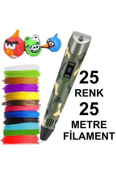 3D Kamuflaj Kalem Yazıcı+25 Renk 25 Metre(25x1metre)pla Filament