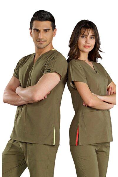 ÇİZGİ MEDİKAL Haki Yeşili Likralı Dr Greys Modeli Cerrahi Takım