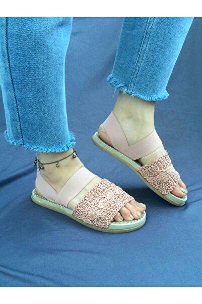 Sarya Ayakkabı Kadın Pudra Örgü Sandalet