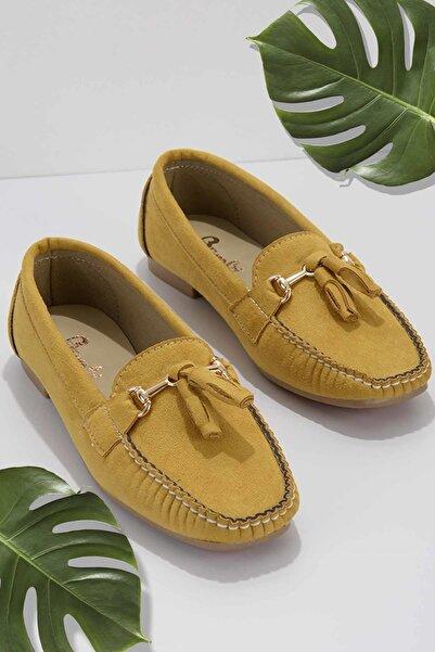Bambi Hardal Süet Kadın Loafer Ayakkabı K01542030365