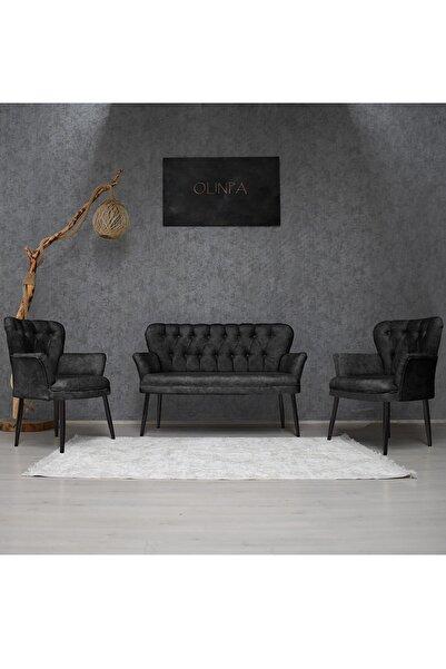 Olinpa Kollu Çay Seti 2+1+1 Balkon Ofis Cafe Bahçe Koltuk Takımı | Siyah Metal Ayak