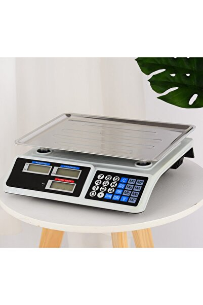 Merkez Ticaret 40 Kg Şarjlı Elektronik Dijital Hassas Mutfak Manav Bakkal Kasap Terazisi Çukur Kefeli